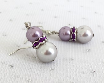 Purple Pearl Earrings, Purple Rhinestone Bridesmaid Earrings, Purple Pearl Wedding Jewelry, Purple Glass Beaded Earrings, Bridesmaid Gift