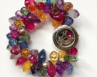 Steampunk watch beaded bracelet jewelry with Swarovski crystal rhinestone