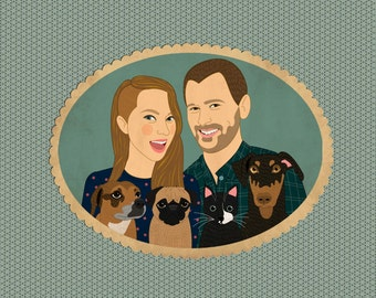 Personalized portraits, wedding gift for couples. Custom portraits with pets. Portraiture.