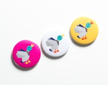 Flying ducks fridge magnets; set of three gift packaged quirky retro-inspired magnets. Stocking filler, party bag filler.