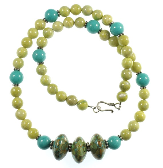 Lemon Jasper, Turquoise Shell and Mosaic Turquoise Necklace, Jasper Necklace, Green Necklace