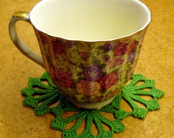 Green crochet coasters