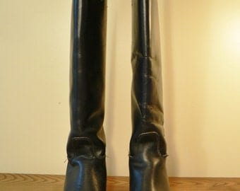 Black Riding Boots Size 7 Tall boots, Dressage, Equestrian women's. riding boots, leather boot, Knee high boots, high fashion boots