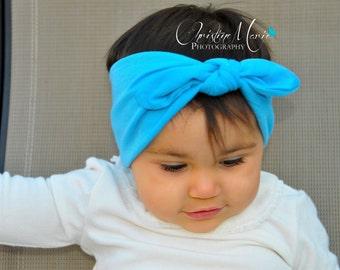 Baby headbands, Blue knot tie headband, baby head wrap, top knot, blue headbands, infant head wraps, baby girl headband, 1st birthday