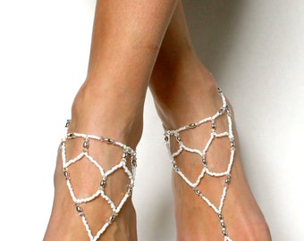 Bridal Barefoot Sandals In white and silver beads Swarovski Sandals Bridal anklet Beach Wedding Sandals Foot Jewelry for Bride Slave Anket