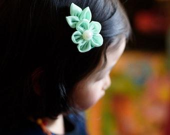 mint green chiffon flower hair clip - you choose color hair bow