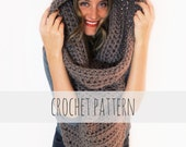 PATTERN for Chunky Soft Crochet Poncho, Scarf, Cowl, Hood All in One // Battalion Scarf PATTERN