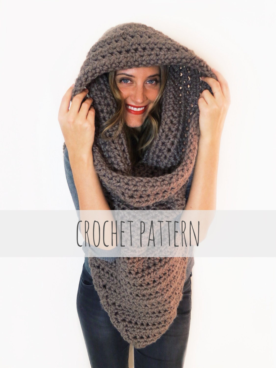 Pattern for chunky soft crochet poncho scarf cowl hood all zoom bankloansurffo Images