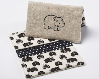 Hippo Wallet, Business Card Holder, Fabric Credit Card Case in Black and White