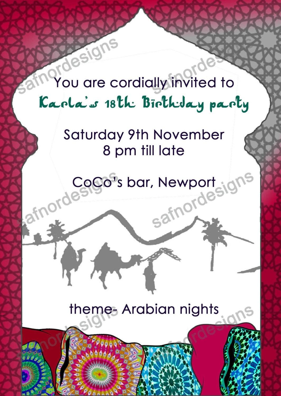 Arabian invitation – Moroccan Party Invitations