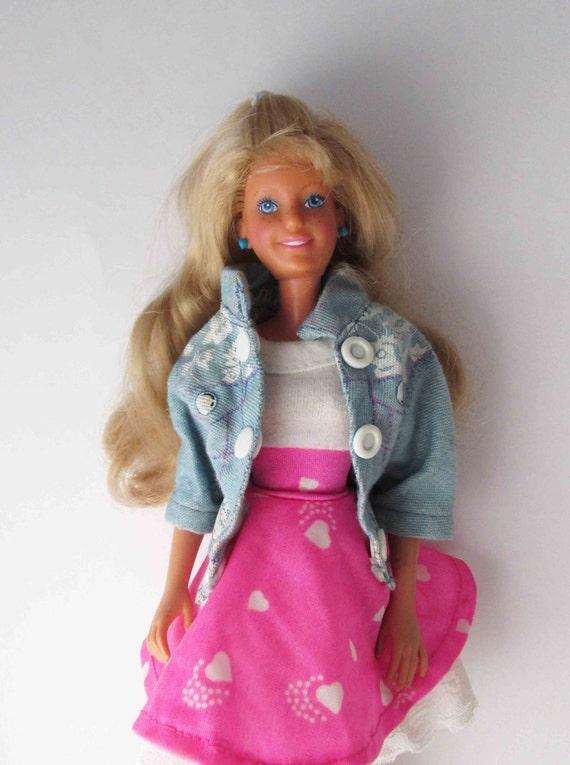 Lookin Smart Maxie Doll Hasbro 1980s Pink Heart Dress Denim