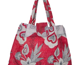 KANTHA Bag - Small - Pale grey with bright red design.