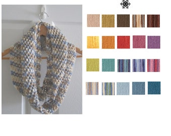 Skinny Knit Scarf - Long Knitted Wool Blend Infinity Scarf - Made To Order