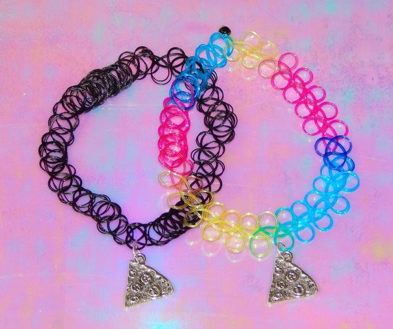 Pizza party tattoo choker necklace tumblr pastel goth for Pastel goth tattoos