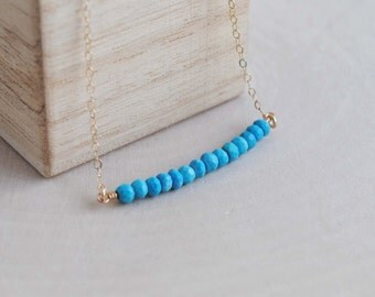 Turquoise Necklace, Turquoise Jewelry, Turquoise Bead Necklace, Turquoise Bead Bar Necklace