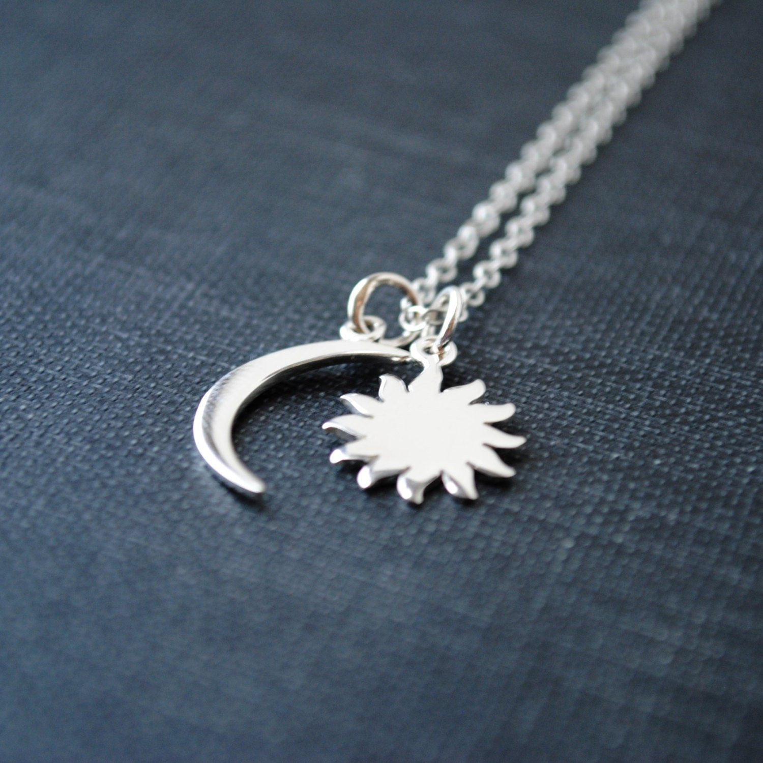 Moon and Sun Necklace Sun and Moon Necklace Cresent Moon