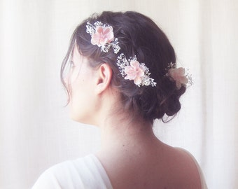 Wedding hair flowers, Bridal headpiece, Floral hairpiece, Rustic wedding hair accessories, Pink flower hair pins - PRECIOUS