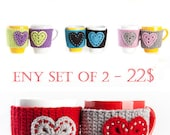 Crochet mug cozy, crochet cup warmer, mug cozy, cup cozy, mug warmer, heart, crochet heart, tea cup cozy, tea mug cozy, red, gray, set of 2
