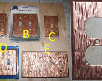 70s NOS copper light switch covers Mulberry grain groove outlet plates regal 1960s vintage lighting ornate decorative Prestige texture