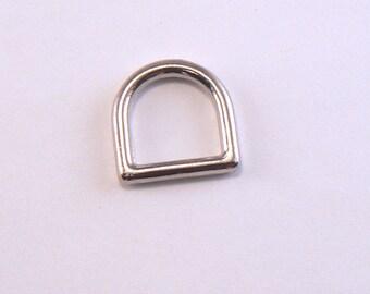 "10 PCS - 1/2"" Cast Brass Silver D Ring - Metal D Ring For Dog Collars - Belt Hardware - Purse Hardware"