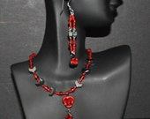 Necklace and Earring Set Red Rose with Hematite