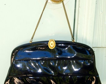 Vintage Black Patent Leather Evening Bag, Ruching, Gold, Party,  60's Sixties, Holiday, December