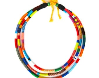 Multi Strand Rope African Necklace - Statement Necklace - Thread Wrap Necklace -