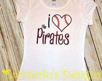 I Baseball Heart the Pirates (Team of your Choice) Bodysuit/Shirt