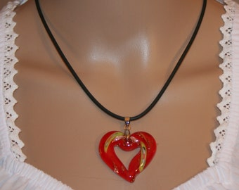 Necklace with glass-heart, fifferent colours