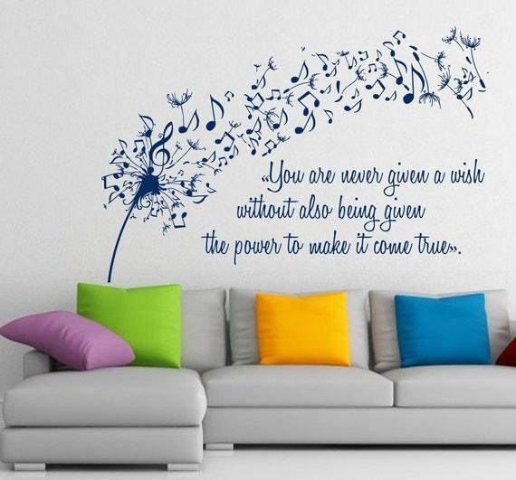 Wall Art Quotes From Songs : Items similar to free shipping dandelion wall decals music