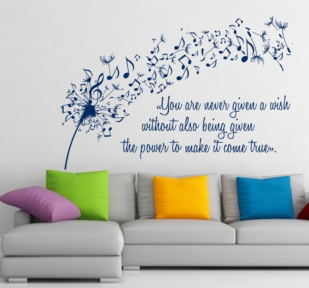FREE SHIPPING Dandelion Wall Decals Music Quote Musical Notes