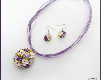 Purple Flower Bouquet Set Pendant and Earrings Handmade Polymer Clay Jewelry, Wedding Purple Lilac, TinyFlowers, Ready to ship.