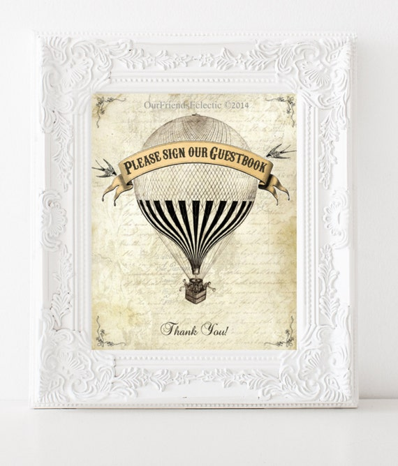 printable guestbook sign, vintage hot air balloon, digital download, wedding sign, you print
