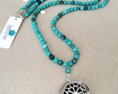 Clearance 30% - Dark Teal Green Turquoise Magnesite Long Beaded Necklace with Essential Oils Diffuser Pendant