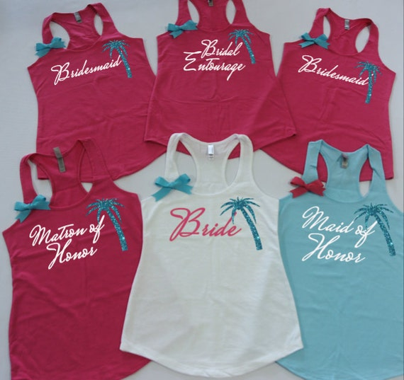 Bridesmaids Tank Tops With Palm Tree 3 Beach Theme