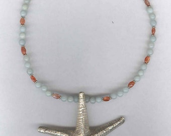 Thai Silver Sea Star, Starfish Necklace, Sea Star Necklace, Starfish Jewelry, Sea Star Jewelry, Thai Silver Necklace, Aquamarine Necklace