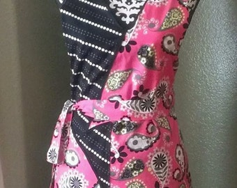 Woman's Pink and Black Paisley Apron