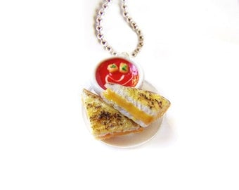 Grilled Cheese Necklace, Miniature Food Jewelry, Polymer Clay Grilled Cheese and Tomato Soup Pendant