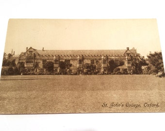 Vintage Postcard,  St. John's College, St. John's Oxford, Antique Postcard, St. John's Postcard, British Postcard