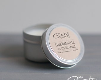 Pink Magnolia Soy Candle   4 oz. Soy Candle Tin   Hand Poured Soy Candles   Wedding Favors