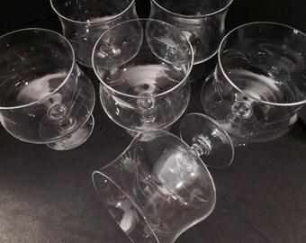 Vintage Etched Crystal Glasses Set of 6