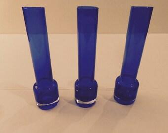 Vintage Cobalt Vases Set of 3