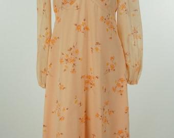 Vintage 1960s Melon Floral Maxi Dress Size S