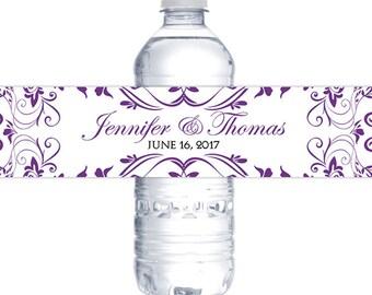 "Wedding Water Bottle Label Printable ""Charlan"" Wedding Favor Label - Vibrant Purple Formal Wedding Favor - YOU Print"