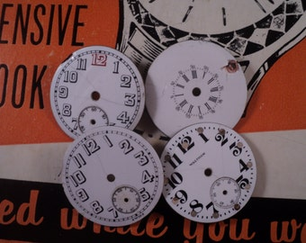 Small pocket watch dial faces for steampunk, industrial, assemblage and altered art pieces.   E  305