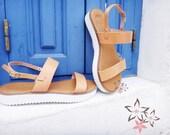 20% OFF Athena Genuine Greek Leather High Quality Natural Color Slingback Slides Strap Sandals