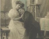 Romantic Couple Postcard. Antique French Postcard. Edwardian Dress. Vintage Valentines Card. Wedding Invitation.  Angel. Marriage Proposal.