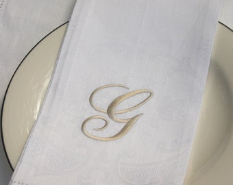 Embroidered Monogrammed Linen Guest Towel - 100 % linen