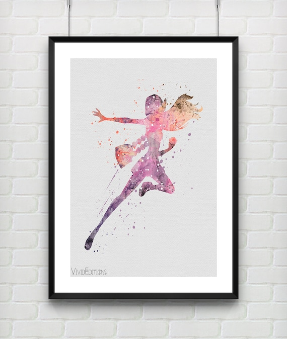 Honey Lemon Disney Watercolor Print, Big Hero 6 Watercolor Poster, Kids Decor, Girl Room Wall Art, Not Framed, Buy 2 Get 1 Free! [No. 46-1]