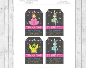Princess Thank you Card, Princess thank you note, Knights thank you tags, Knights birthday, Princess party, printable